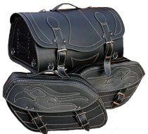 Motomaxx chopper táska és csomagtáska szett bőrből